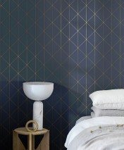 Wallpaper Biloba Shimmering pattern Matt base surface Triangles Plaid Dark blue Pearl gold