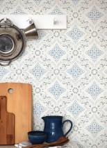Tapete Isolda Leimdruck Matt Historische Ornamente Cremeweiss Grau Graublau