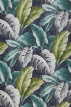 Wallpaper Verena Matt Leaves Black blue Blue Green Fern green Grey white