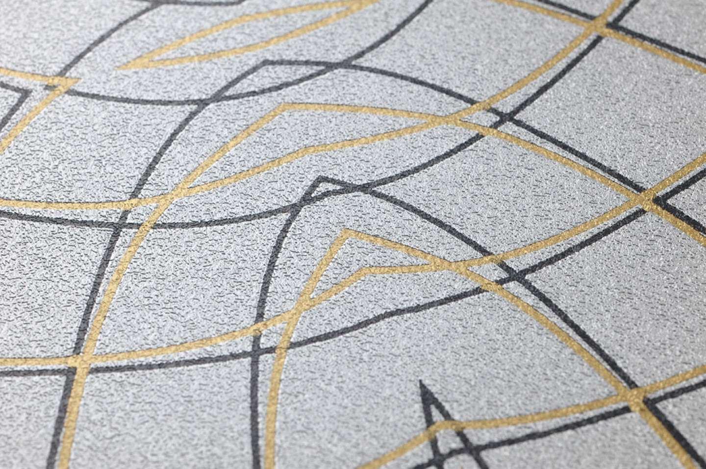 Tapete surya silber gold schwarz tapeten der 70er for Tapete gold schwarz