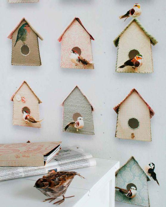 Studio Ditte Wallpaper Wallpaper Birdhouse grey brown Room View
