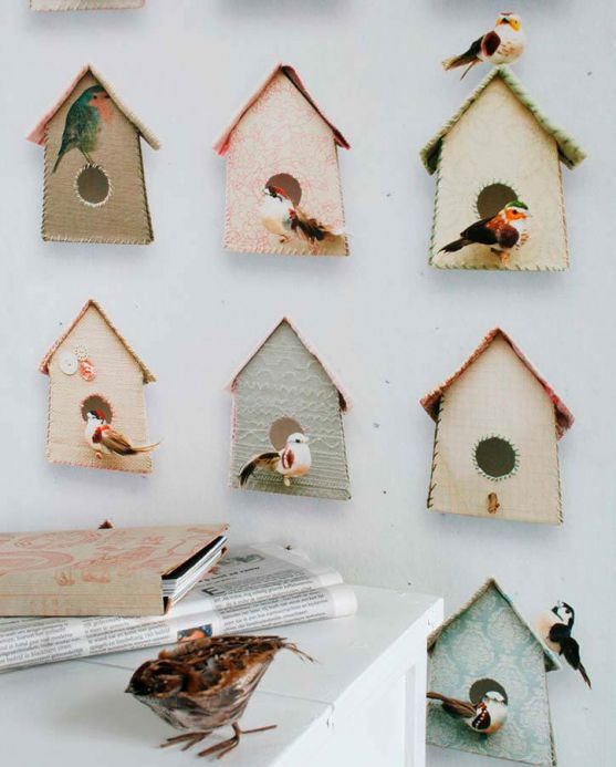 Papel pintado Studio Ditte Papel pintado Birdhouse marrón grisáceo Ver habitación
