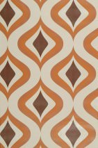 Tapete Triton Matt Retro Ornamente Hellelfenbein Braun Orange