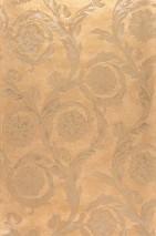 Wallpaper Clarissa Shimmering Stylised Flower Tendrils Matt gold Pale light brown Pearl beige White brown
