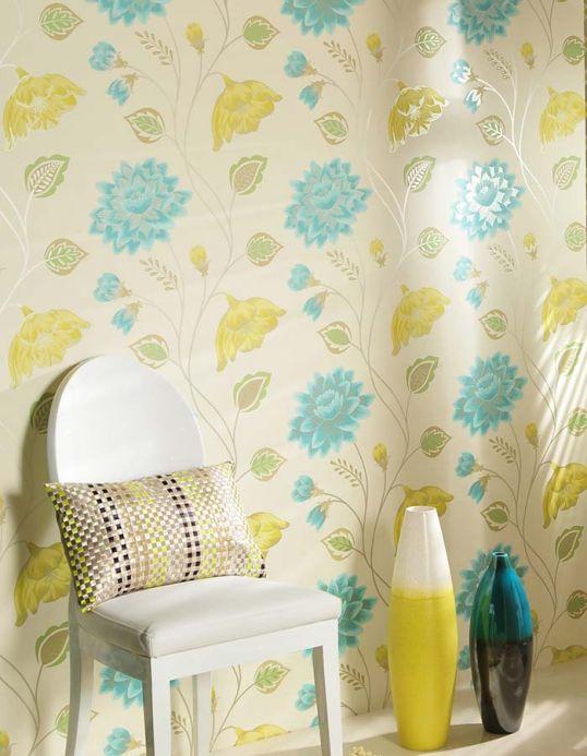 Archiv Papel pintado Olina turquesa pastel Ver habitación