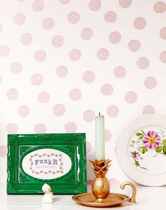 Papel pintado geométrico Papel pintado Corbetta rosa claro brillantina Ver habitación
