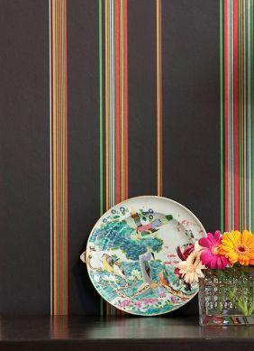 Papel pintado Hudson gris negruzco Ver habitación