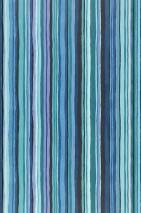Wallpaper Zeno Matt Stripes Pastel violet Black Turquoise blue Water blue