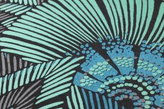 Papel pintado Siskara Mate Hojas estilizadas Flores estilizadas Negro Marrón grisáceo Verde perla Azul agua