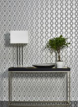 Wallpaper Iroko Matt Graphic elements Rhombuses Grey aluminium Grey tones White White aluminium