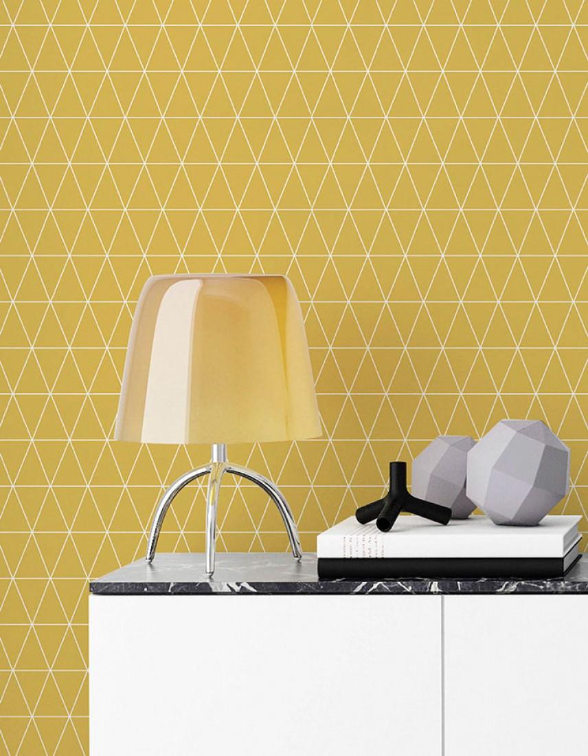 Papel pintado svarog amarillo ocre blanco papeles de for Papel pintado de los 70