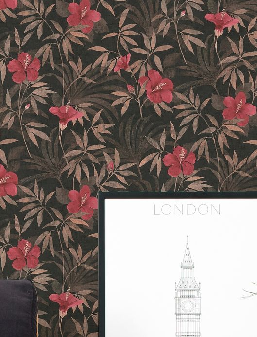 Papel pintado floral Papel pintado Tara marrón grisáceo Ver habitación