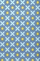 Wallpaper Hadit Matt Small ornaments Pastel turquoise Blue Yellow lustre