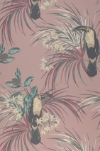Wallpaper Toucan Jungle Hand printed look Matt Toucan Branches with leaves and blossoms Pale rosewood Light ivory Mint turquoise Rosewood Slate grey