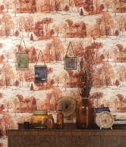 Wallpaper Heracid Matt Trees Cream Brown tones Yellow orange Light yellow