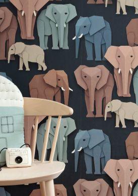 Tapete Elephant Brauntöne Raumansicht