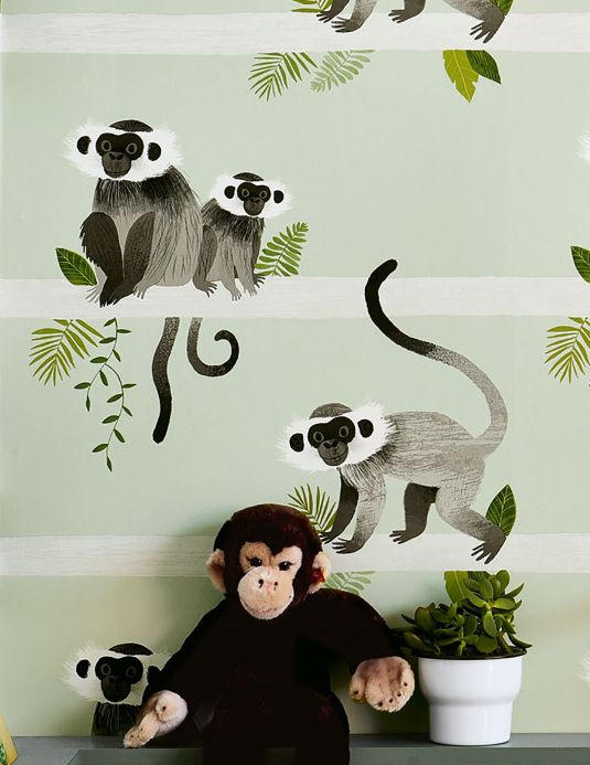 Animal Wallpaper Wallpaper Trixi shades of green Room View