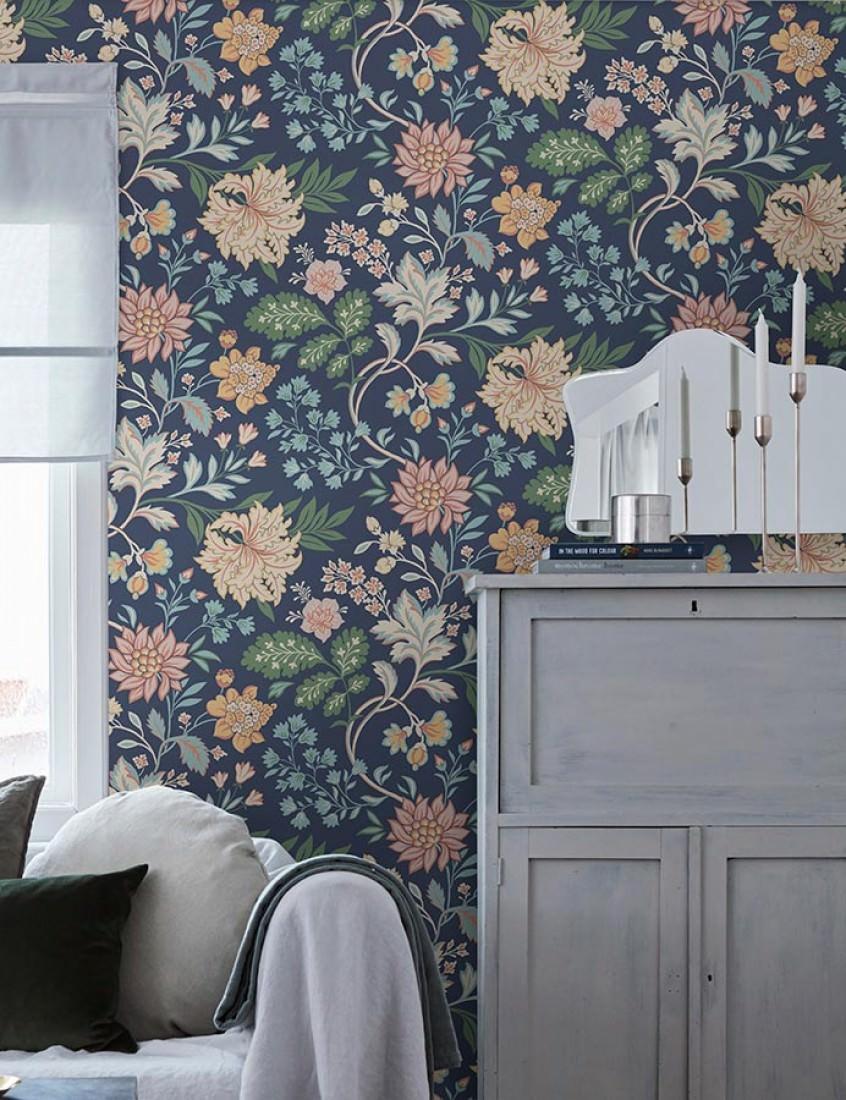 tapete ebba dunkelblau beige hellblau hellelfenbein. Black Bedroom Furniture Sets. Home Design Ideas
