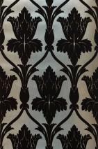 Carta da parati Sherlock Disegno opaco Superficie di base brillante Damasco floreale Turchese pastello perlato lucido Beige perlato Marrone cioccolato fondente