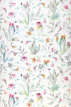 Wallpaper Cactus Plain Matt Blossoms Feathers Cacti Butterflies Cream Cream shimmer Shades of green Orange Rose