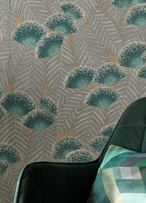 Floral Wallpaper Wallpaper Tambika blue green Room View