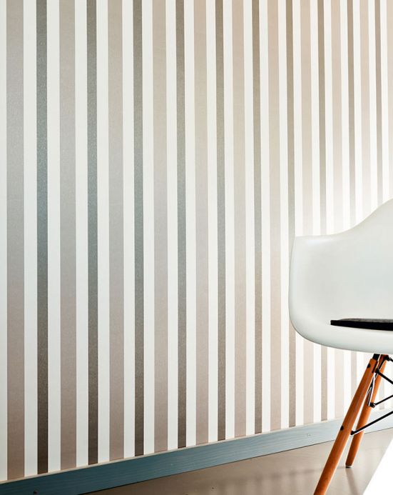 Archiv Wallpaper Stripes by Porsche grey beige shimmer Room View