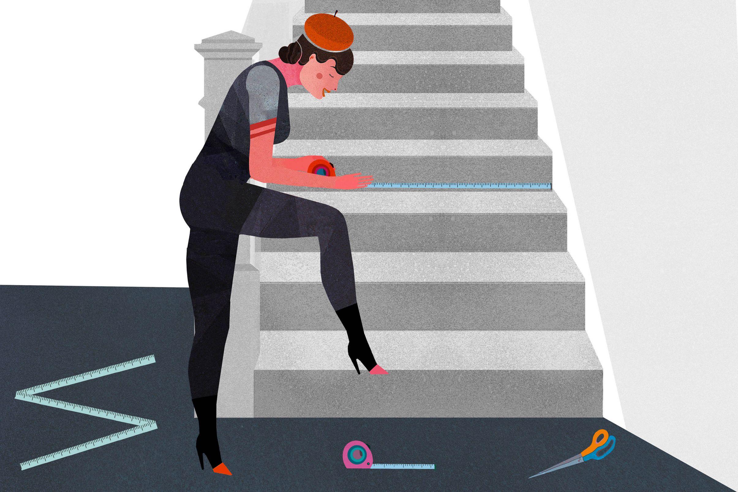 Como-embellecer-escaleras-con-papel-pintado-Medir-la-cara-frontal-del-peldano