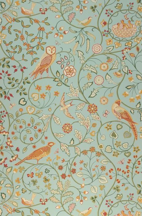 Papel pintado Jorinde Mate Hojas zarcillos Búhos Insectos Flores estilizadas Pájaros Turquesa menta claro Rojo parduzco Blanco crema Verde musgo Amarillo ocre Verde caña