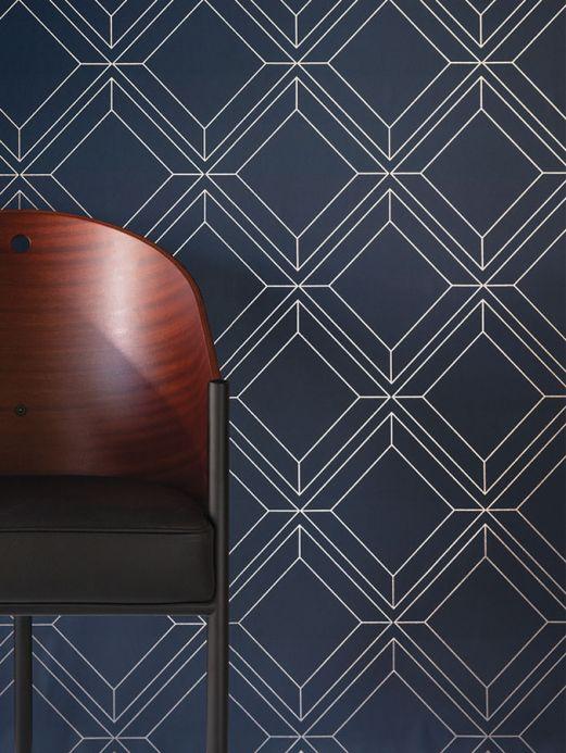 Papier peint géométrique Papier peint Malekid bleu foncé Vue pièce