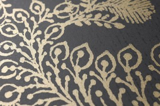 Wallpaper Lioba Shimmering pattern Matt base surface Leaves Anthracite Pearl gold