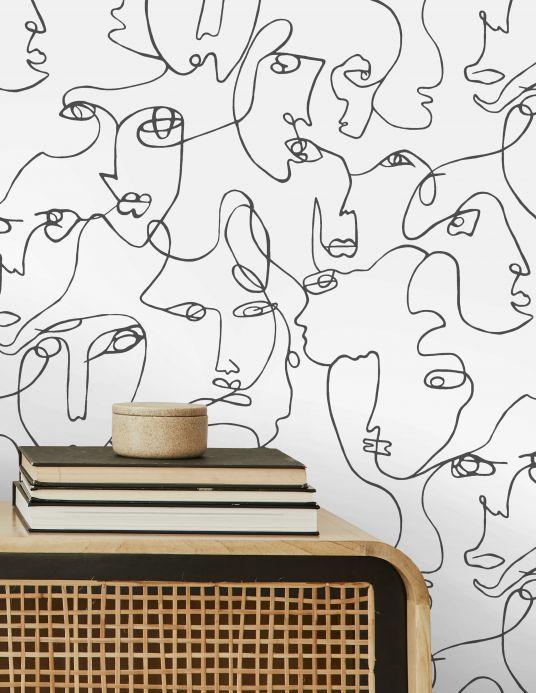 Papel de parede divertido Papel de parede Zaralin branco Ver ambiente