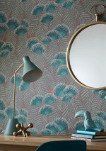 Wallpaper Tambika Hand printed look Matt Leaves Blossoms Salmon red Pale brown Blue Green Cream Mint turquoise