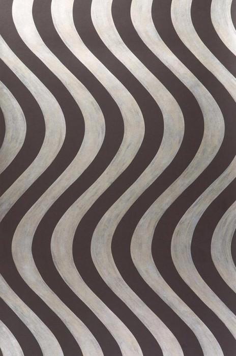 Wallpaper Fortuna Shimmering pattern Matt base surface Waves Black brown Gold