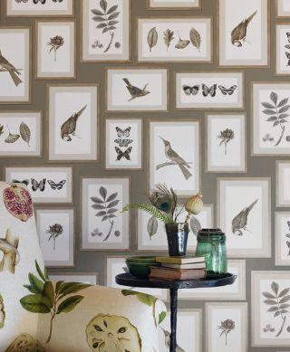 Papier peint Jara gris olive Vue pièce
