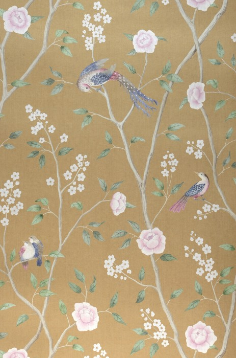 Wallpaper Leonidas Matt Birds Branches with leaves and blossoms Matt gold Green Pebble grey Pastel violet Violet blue White