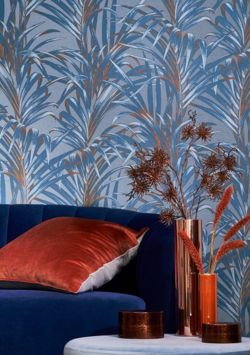 Funky Wallpaper Wallpaper Palmetto azure shimmer Room View