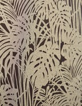 Wallpaper Persephone Iridescent pattern Matt base surface Palm fronds Black Gold glitter Silver glitter