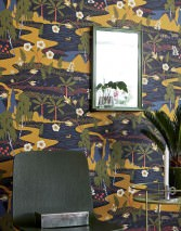 Wallpaper Hesperia Hand printed look Matt Trees Mountains Flowers Animals Black blue Blue Cream Fern green Ochre Red