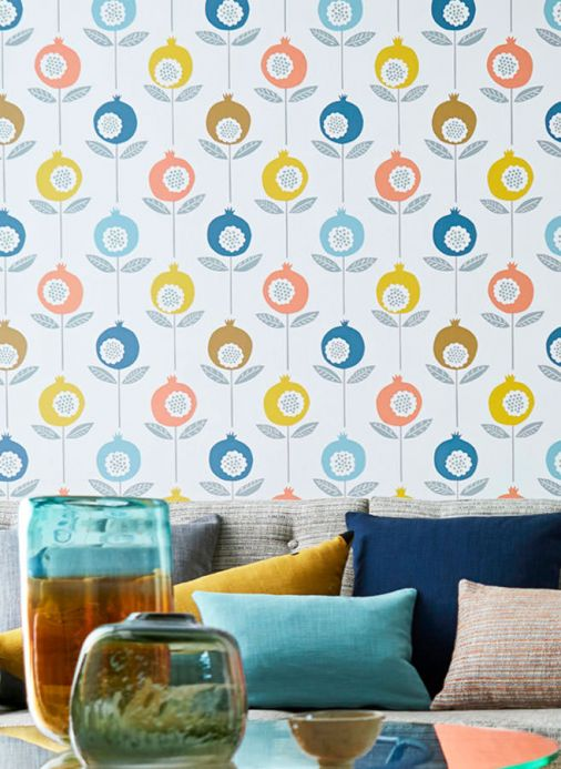 Papel de parede floral Papel de parede Nella azul Ver quarto