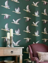 Wallpaper Chloe Matt Birds Pine green Grey Grey beige Pastel orange Black White aluminium