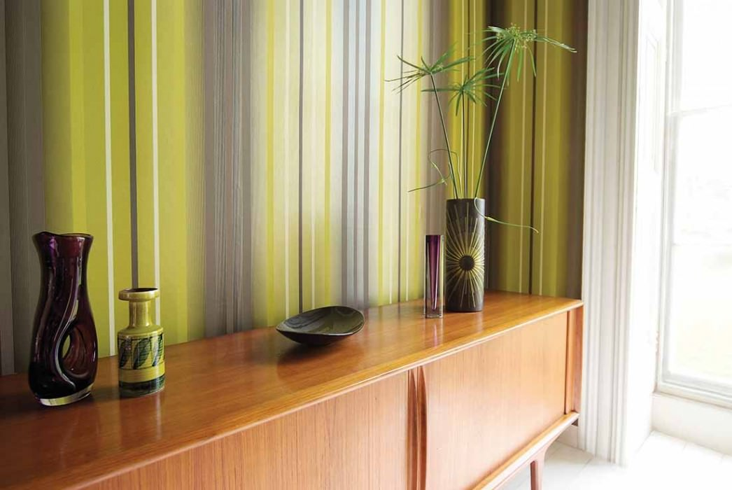 Wallpaper Orthos Matt Stripes Yellow green Pale brown White gold lustre