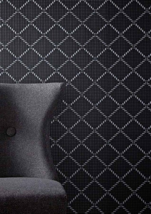 Wallpaper Keres Shimmering Plaid Black grey shimmer Silver