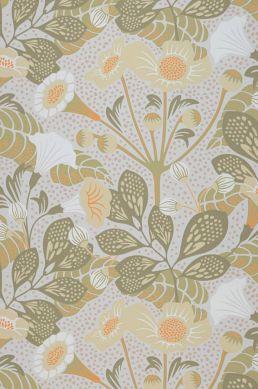 Papel pintado Ancasi amarillo oliva Ancho rollo