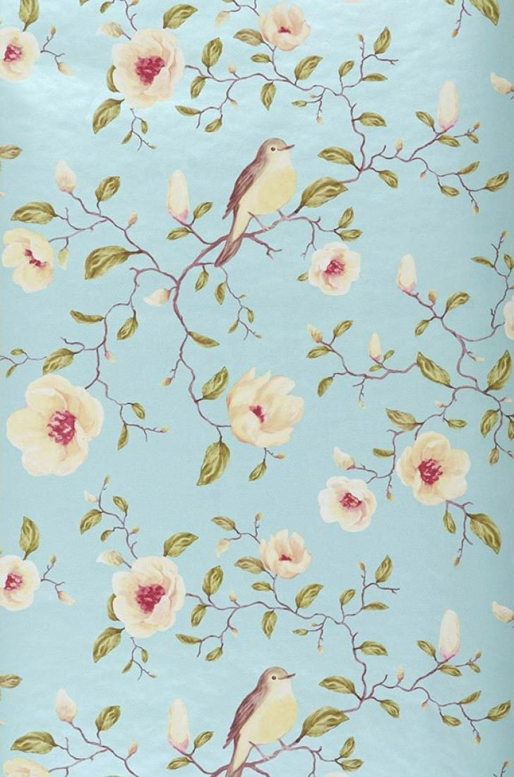 Romantische Tapeten Muster : Wallpaper with Bird Pattern