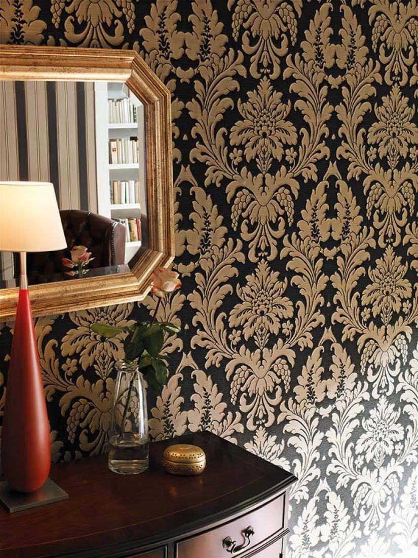 Marunda gris noir beige gris papier peint baroque - Papiers peints des annees 70 ...