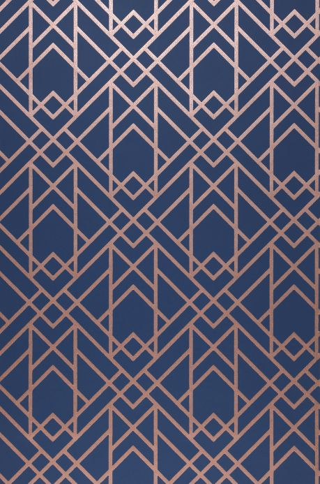 Papel de parede Art Déco Papel de parede Baya azul escuro Largura do rolo