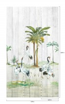 Wallpaper Anagon Matt Trees Palm trees Birds Grey white Brown Yellow Shades of green Red Black White