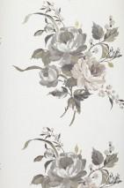 Papel pintado Olesia Patrón brillante Superficie base mate Flores Blanco Gris Marrón blanco Oro blanco