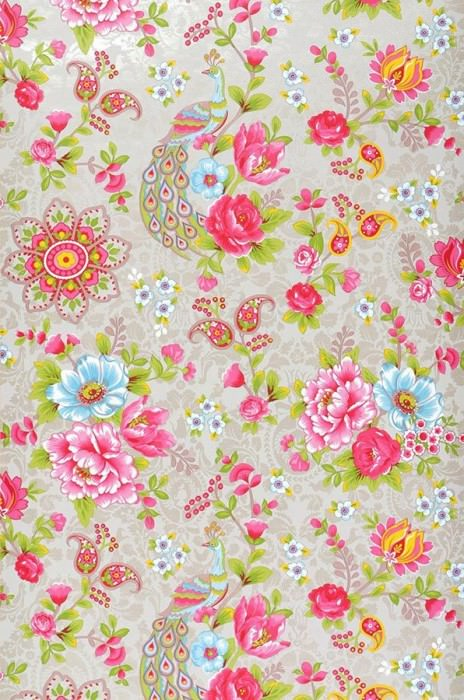 Wallpaper Ludmilla Matt Flowers Peacocks Light beige grey Strawberry red Yellow green Light blue White