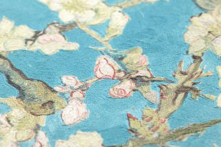Wallpaper VanGogh Blossom Matt Branches with leaves and blossoms Turquoise Pale green Brown red Green beige Black brown
